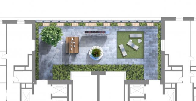 Жилой дом на Староалексеевской. Концепция благоустройства территории. Двор для барбекю (центральный). Проект, 2013 © ADM