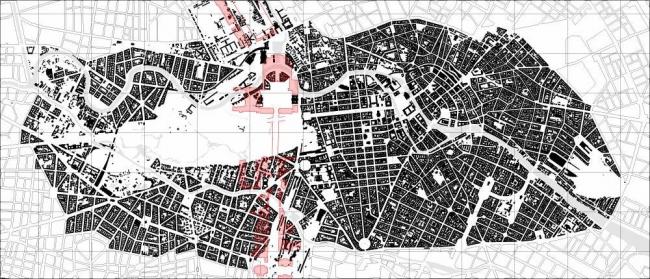 Карта Берлина 1940 года. Красным цветом нанесен проект реконструкции Шпеера-Гитлера с пробивкой оси «Север-Юг», как главной улицы новой немецкой столицы – города Германиа. Иллюстрация Ханса Штимана