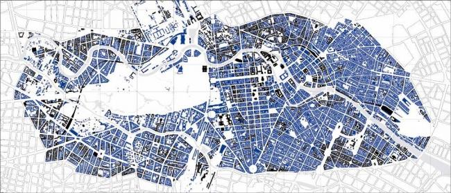 Берлин. Синим цветом показаны здания, разрушенные во время войны и снесенные в 1945-2010 годах. Иллюстрация Ханса Штимана