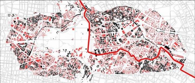 Берлинская стена разделила город надвое. Красным цветом показаны здания, построенные в Берлине в 1953-1989 годах. Иллюстрация Ханса Штимана