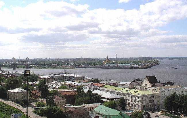 The view of the modern Strelka from the Kremlin side