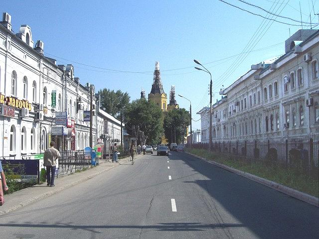 Strelka Street. The view of the Alexandr Nevsky Cathedral from the side of the Main Building of the Nizhegorodskayia Yarmarka