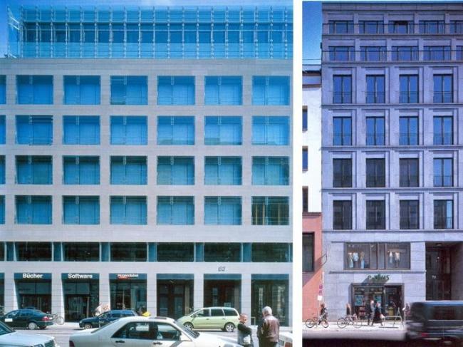 Фасады разных зданий на Фридрихштрассе. Слева Бёге и Линдер, Кальфельдт Аркитектен, справа Ханс Колхоф, Михаэль Вёфтинг. Фотография из журнала Проект International