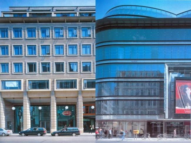 Фасады разных зданий на Фридрихштрассе. Слева Кристоф Мэклер, справа Жан Нувель. Фотография из журнала Проект International