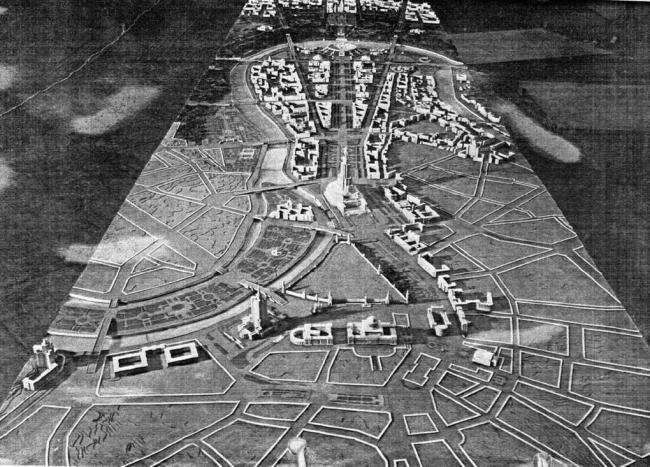 По плану реконструкции Москвы 1935 года район Остоженки и Пречистенки должен был быть снесен. Иллюстрация с сайта http://ru-sovarch.livejournal.com