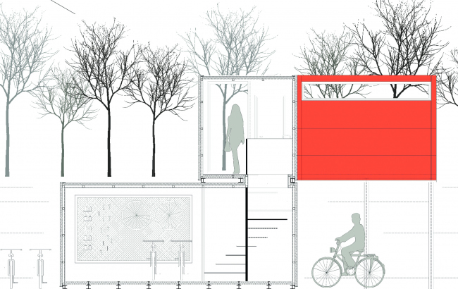 1-е место по версии жюри. Bike-Connect-Chill. Авторы: Jorge Lopez Sacristan, Christina Codjambopoulo, Beatriz Gomez Martin, Jorge Lopez Sacristan and Sara Rebollo. Иллюстрация:www.trimo-urbancrash.com