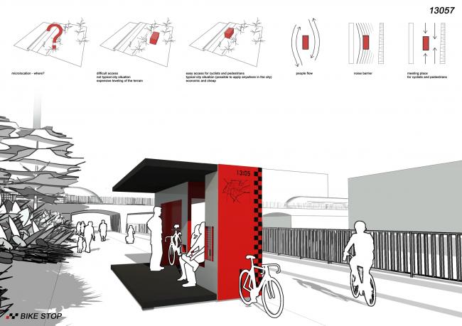 Поощрительная премия. Минимализм. Проект Bike Stop. Авторы: Piotr Woldan, Michal Romanski, Justyna Turowska. Иллюстрация: www.trimo-urbancrash.com