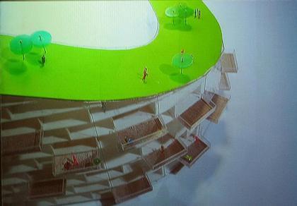 Дом-стена вокруг стадиона в Копенгагене