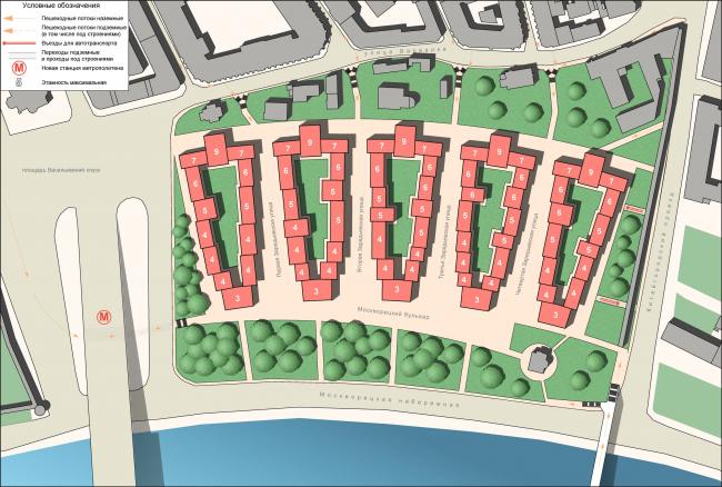 Рис. 8. Генплан с указанием этажности зданий
