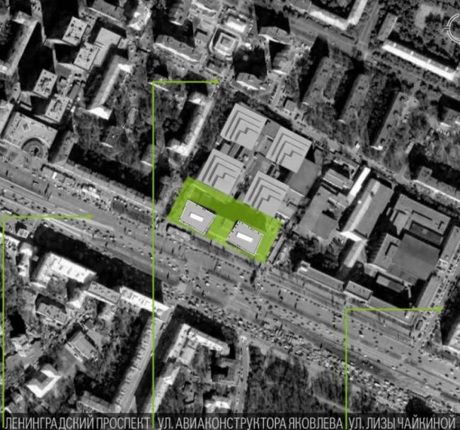 Бизнес-центр класса А «Алкон» на Ленинградском проспекте. Генплан, 1 и 2 очередь. Реализация, 2013 © ADM