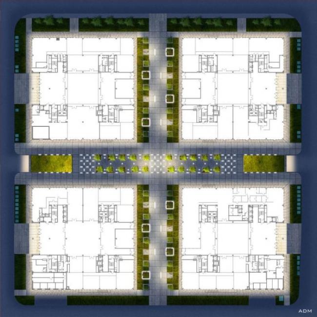 Бизнес-центр класса А «Алкон» на Ленинградском проспекте. Планировка четырех корпусов и проект благоустройства. Реализация, 2013 © ADM