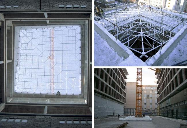 Бизнес-центр класса А «Алкон» на Ленинградском проспекте. Крыша атриума, в процессе строительства. Реализация, 2013 © ADM