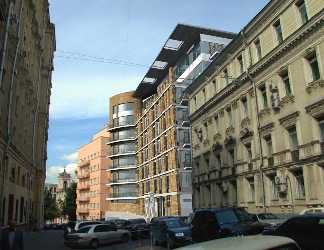 Жилой дом с апартаментами в Брюсовом переулке, 2007, Москва. Мастерская Алексея Бавыкина. © www.archi.ru