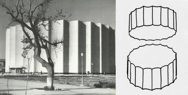 Дворец искусств в Ташкенте в виде среза дорической колонны. Рисунок: В. Белоголовский