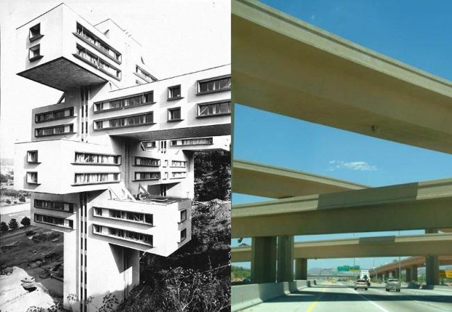 Здание Министерства дорог в Тбилиси решено в виде дорожной развязки и напоминает проекты горизонтальных небоскребов Эля Лисицкого