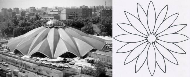 Даниловский рынок в Москве выполнен в виде цветка. Рисунок: В. Белоголовский
