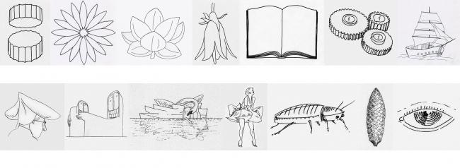 Сравнение образов, вдохновляющих советских и западных архитекторов – цветы, книги и корабли против лебедей, таракана и юбки Мэрилин Монро. Рисунки: В. Белоголовский (верхний ряд) и Madelon Vriesendorp (нижний ряд)