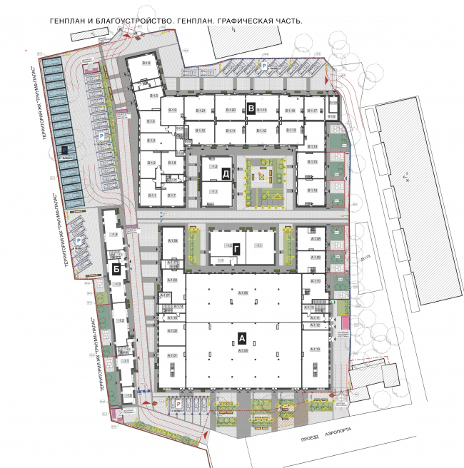 Реновация промышленной территории под лофт-квартал апартаментов Studio #8. Генеральный план © Т+Т Architects