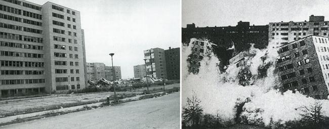 Жилой комплекс Pruitt-Igoe в Сент-Луисе (арх. Минору Ямасаки, 1954) прославился высоким уровнем преступности и был взорван после всего 17-ти лет эксплуатации. Комплекс стал некой точкой невозврата в  области городского планирования и послужил толчком к поискам более продуманных и диверсифицированных проектов. Часть вины за несостоятельность комплекса была возложена на модернистскую архитектуру, смерть которой тогда провозгласил Дженкс. Фотография предоставлена Чарльзом Дженксом
