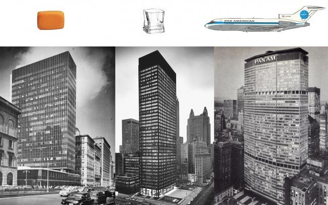 Чарльз Дженкс считает, что абстрактный модернизм середины 20-го века привел к иконографическому дефициту и доминированию чистой эстетики и технического прогресса. К примеру, три знаменитых нью-йоркских небоскреба, чьи минималистические формы не отражают функции корпораций, для которых они были построены – Lever House для мыльной империи, Сигрэм-билдинг для производителя спиртных напитков и здание Pan Am под офисы самолетной компании. Стоит ли связывать архитектуру и иконографию в подобных случаях? Двух последних корпораций из трех больше не существует. Тем не менее, все три здания (по проектам Гордона Буншафта, Миса ван дер Роэ и Вальтера Гропиуса) давно превратились в иконы модернизма. Коллаж: Владимир Белоголовский