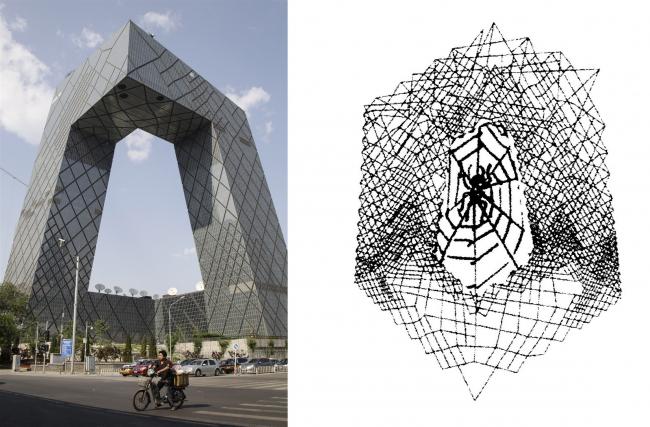 Здание «Паутина» (CCTV) Рема Колхаса, Пекин. Рисунок: Madelon Vriesendorp