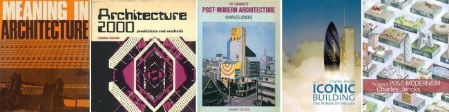 В 1969 году вышла первая книга Дженкса «Значение в архитектуре», в которой собраны статьи о семиотике архитектуры. После этого появились такие популярные книги, как «Архитектура 2000» (1971) о предсказаниях в архитектуре; «Современные движения в архитектуре» (1972); «Язык Пост-Модернистской архитектуры» (1977); «Архитектура прыгающей вселенной» (1997); «Новая парадигма в архитектуре» (2002); «Здание-икона» (2005), в которой объясняется любопытный феномен – enigmatic signifier, что буквально можно перевести как признак загадочности или «знак к разгадке» и «История постмодернистской архитектуры» (2011). Фотографии предоставлены Владимиром Белоголовским