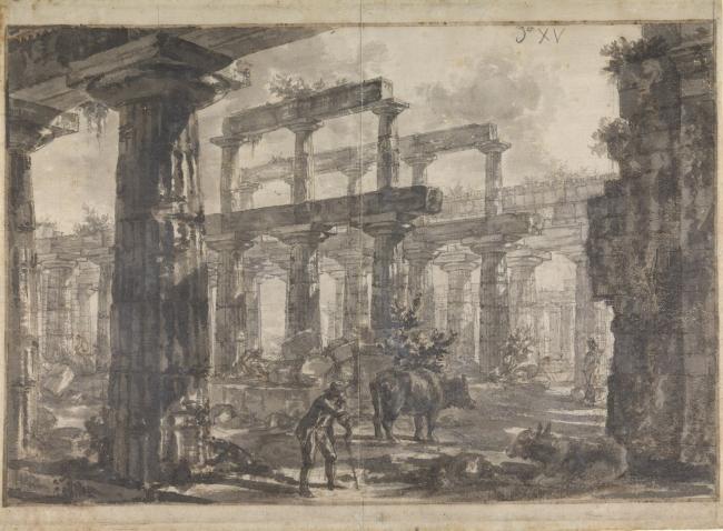 Джованни Баттиста Пиранези. Пестум. Вид храма Нептуна с северо-востока. Карандаш, коричневая и черная акварель, тушь. Музей Джона Соуна