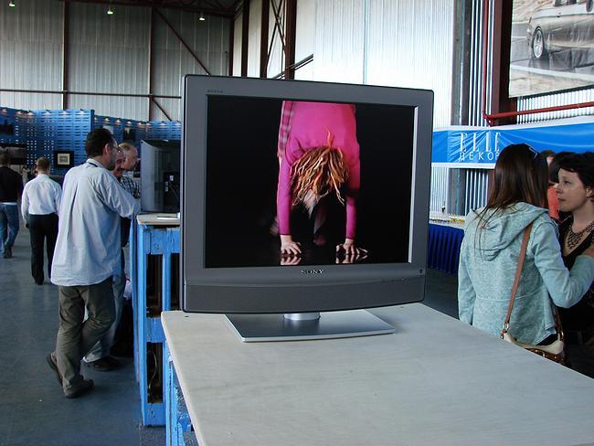 В противоположной части выставки стоят мониторы, показывающие видеоролики в танцами, соответствующими внутреннему пространству каждого дома. Здесь - домики яхтсменов Владимира Плоткина