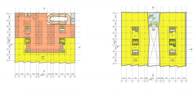 План этажа с парковкой (слева). План типового этажа (справа).