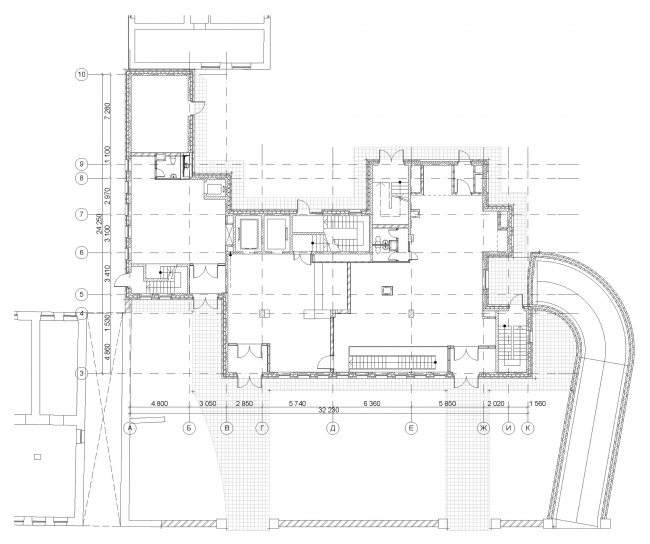 Гостиница с апартаментами и подземной автостоянкой. План 1-го этажа. © Мастерская архитектора Бавыкина