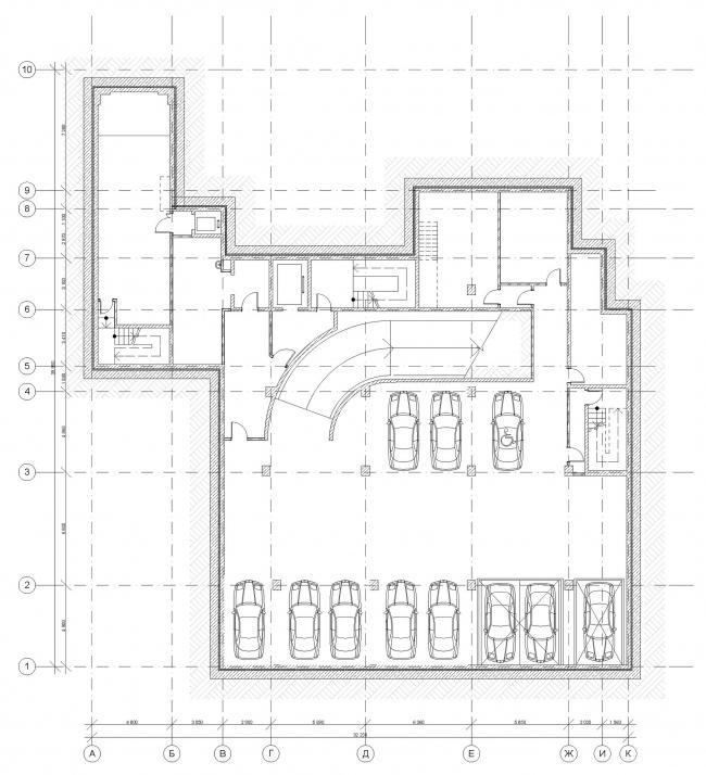 Гостиница с апартаментами и подземной автостоянкой. План 2-го этажа. © Мастерская архитектора Бавыкина