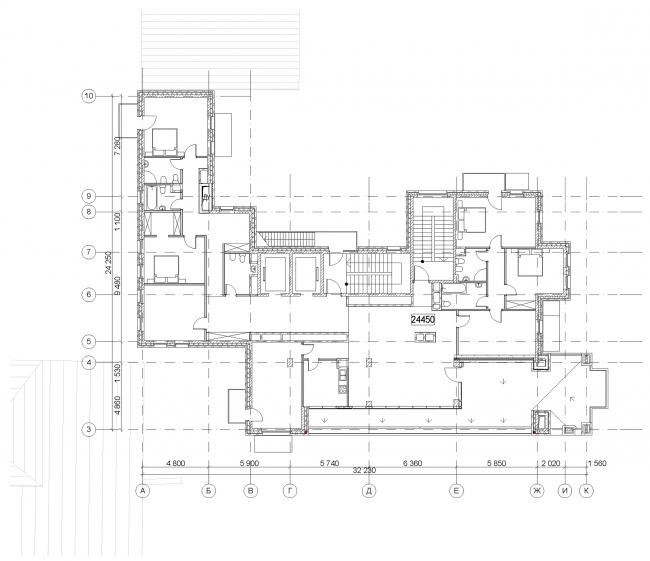 Гостиница с апартаментами и подземной автостоянкой. План этажа с террасой. © Мастерская архитектора Бавыкина
