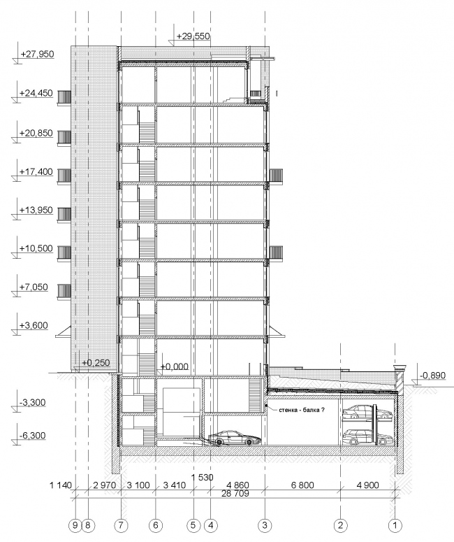 Гостиница с апартаментами и подземной автостоянкой. Разрез. © Мастерская архитектора Бавыкина