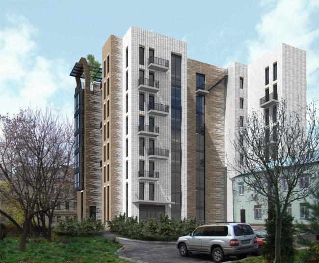 Гостиница с апартаментами и подземной автостоянкой. Вид со стороны дома 8 стр 3. © Мастерская архитектора Бавыкина