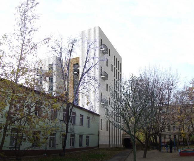 Гостиница с апартаментами и подземной автостоянкой. Вид со стороны дома 8а. © Мастерская архитектора Бавыкина
