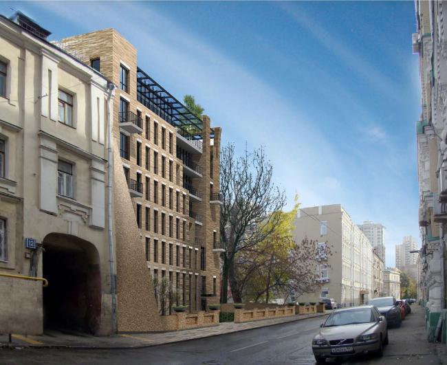Гостиница с апартаментами и подземной автостоянкой. Вид с Электрического переулка. Проект, 2013