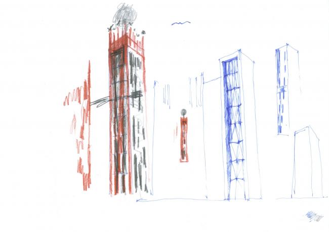 Гостиница с апартаментами и подземной автостоянкой. Эскиз. © Мастерская архитектора Бавыкина