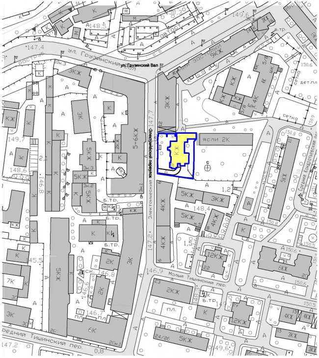 Гостиница с апартаментами и подземной автостоянкой. Ситуационный план. © Мастерская архитектора Бавыкина