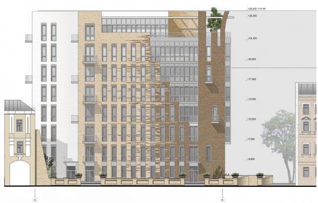 Гостиница с апартаментами и подземной автостоянкой. Западный (главный) фасад. © Мастерская архитектора Бавыкина