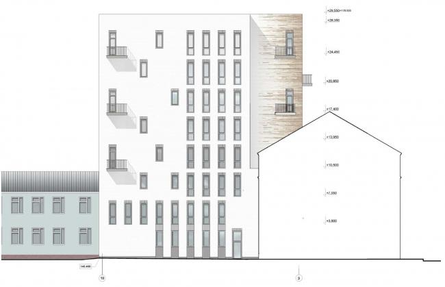 Гостиница с апартаментами и подземной автостоянкой. Северный (боковой) фасад. © Мастерская архитектора Бавыкина