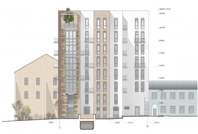 Гостиница с апартаментами и подземной автостоянкой. Южный (боковой) фасад. © Мастерская архитектора Бавыкина