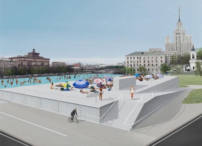 Открытый бассейн на кровле бани. Проект Максима Зуева