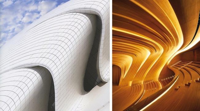 Наиболее удачного соответствия обтекаемой формы здания и интерьера удалось добиться в концертном зале Центра. Фотографии: © Heydar Aliyev Center, Helene Binet
