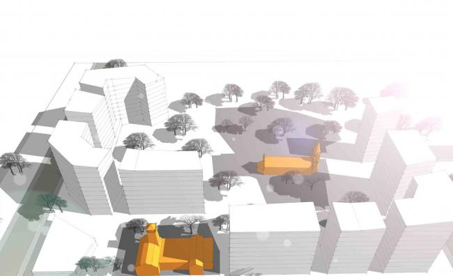 Архитектурно-градостроительная концепция реконструкции и новой застройки жилого квартала между улицей Ленина и озером Солдатское в центральной части Уфы © ПТАМ Виссарионова