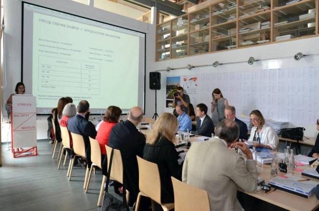 Заседание жюри конкурса на разработку концепции парка Зарядье в институте Стрелка. Фотография Елены Петуховой
