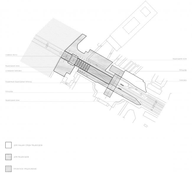 Новое зонирование территории с приоритетом пешехода. Проект Валерии Самович