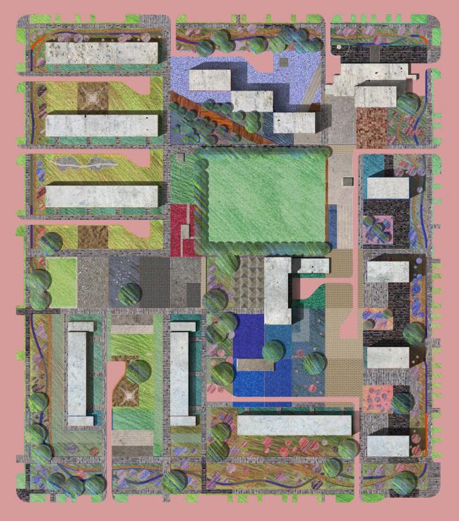 Генплан двора, совмещенный с сеткой дачи. Проект Марии Карцевой