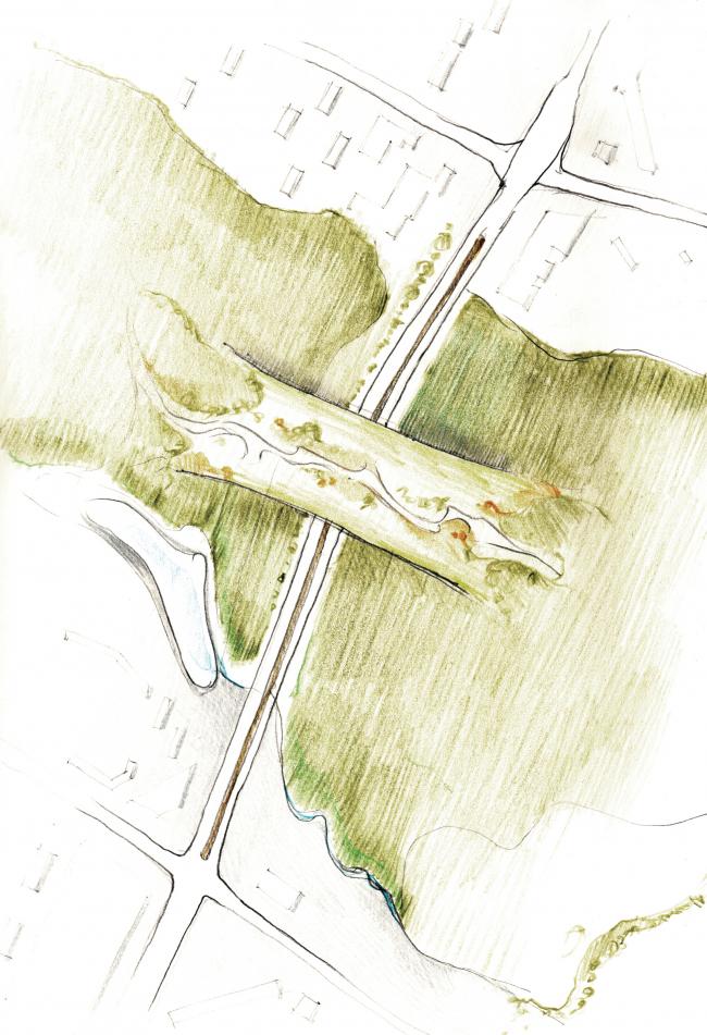 Пересечение Ленинский проспект + Улица Миклухо-Маклая. Варианты решения проблем. Эко-мост. © МАРШ