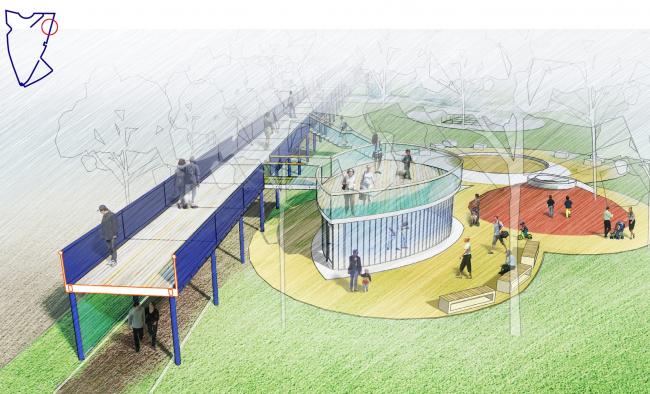 Детская площадка и павильоны. «Горизонты движения». Студия «Поле-дизайн»