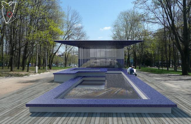 Вариант оформления фонтана в виде павильона. «Горизонты движения». Студия «Поле-дизайн»